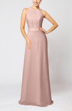 Dusty Rose Elegant Column Sleeveless Zip up Pleated Evening Dresses