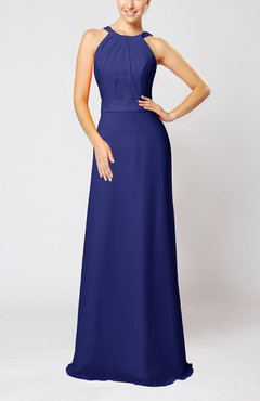 Electric Blue Elegant Column Sleeveless Zip up Pleated Evening Dresses