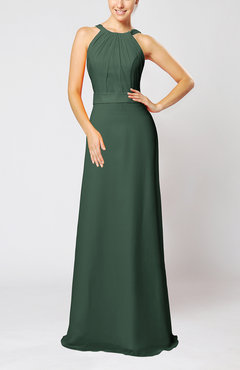 Hunter Green Elegant Column Sleeveless Zip up Pleated Evening Dresses