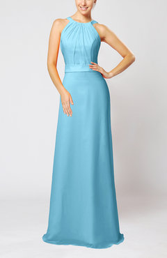 Light Blue Elegant Column Sleeveless Zip up Pleated Evening Dresses