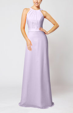 Light Purple Elegant Column Sleeveless Zip up Pleated Evening Dresses