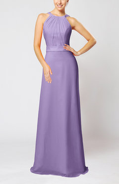 Lilac Elegant Column Sleeveless Zip up Pleated Evening Dresses