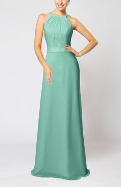 Mint Green Elegant Column Sleeveless Zip up Pleated Evening Dresses