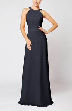 Navy Blue Elegant Column Sleeveless Zip up Pleated Evening Dresses