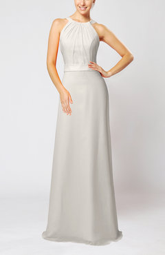 Off White Elegant Column Sleeveless Zip up Pleated Evening Dresses