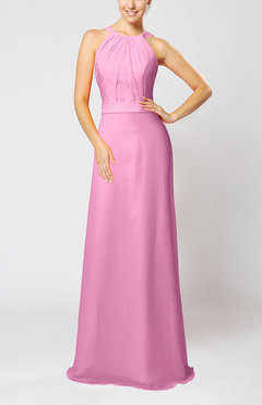 Pink Elegant Column Sleeveless Zip up Pleated Evening Dresses