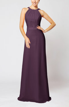 Plum Elegant Column Sleeveless Zip up Pleated Evening Dresses
