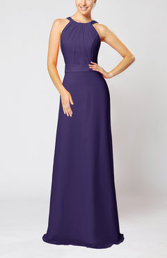 Royal Purple Elegant Column Sleeveless Zip up Pleated Evening Dresses