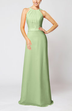 Sage Green Elegant Column Sleeveless Zip up Pleated Evening Dresses