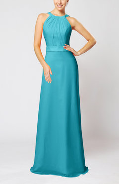 Teal Elegant Column Sleeveless Zip up Pleated Evening Dresses