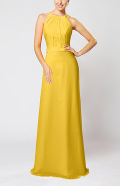 Yellow Elegant Column Sleeveless Zip up Pleated Evening Dresses