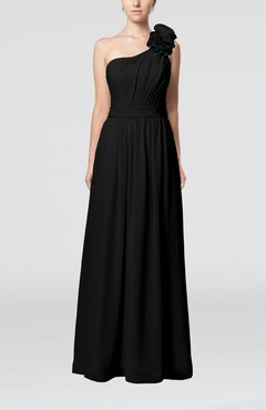 Black Plain One Shoulder Sleeveless Zipper Floor Length Sash Evening Dresses