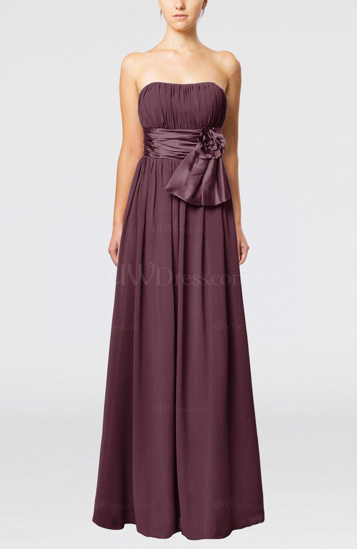 Burgundy plain column zipper chiffon floor length wedding for Burgundy dress for wedding guest
