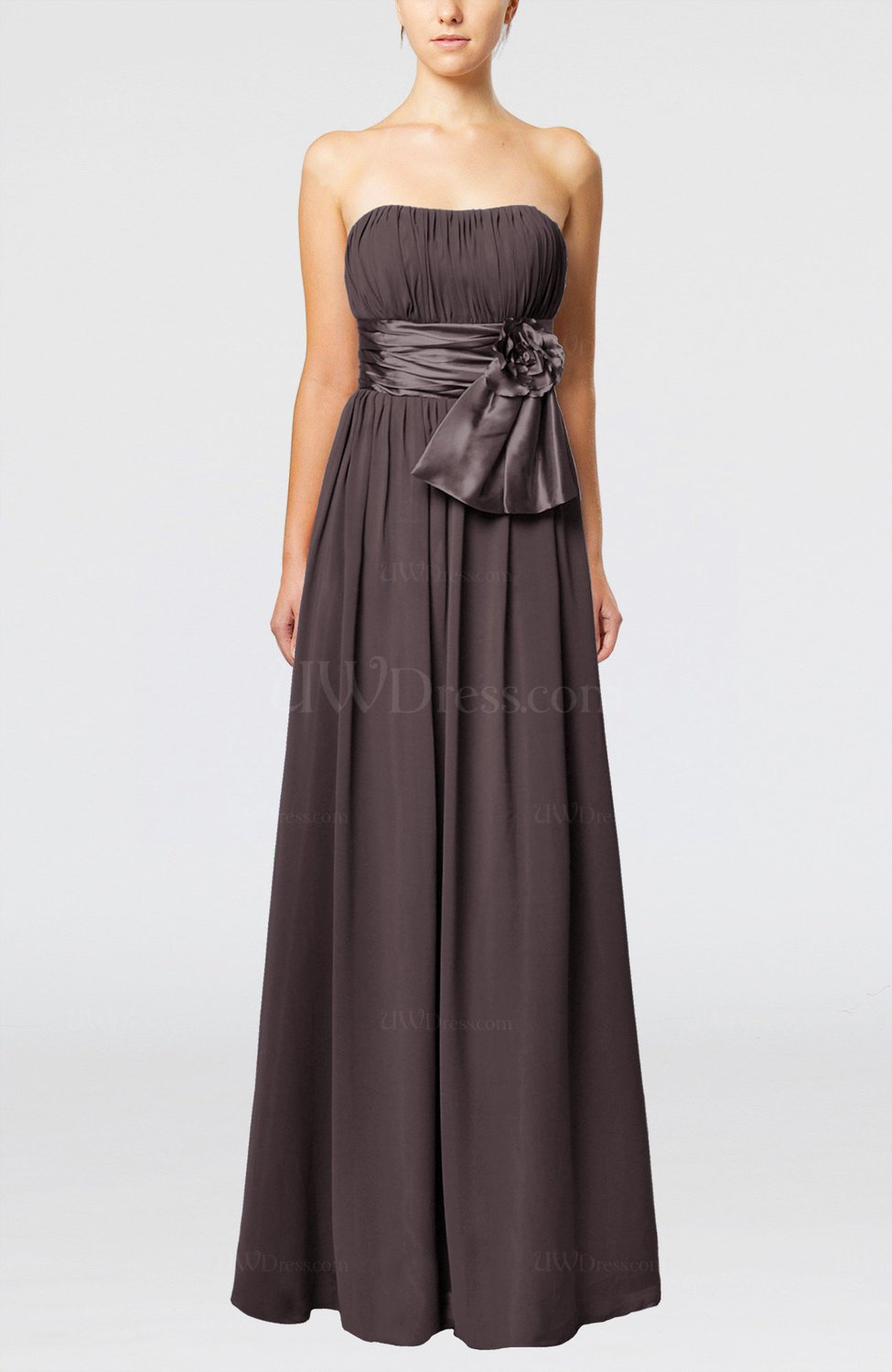 Fudge brown plain column zipper chiffon floor length for Brown dresses for wedding guest