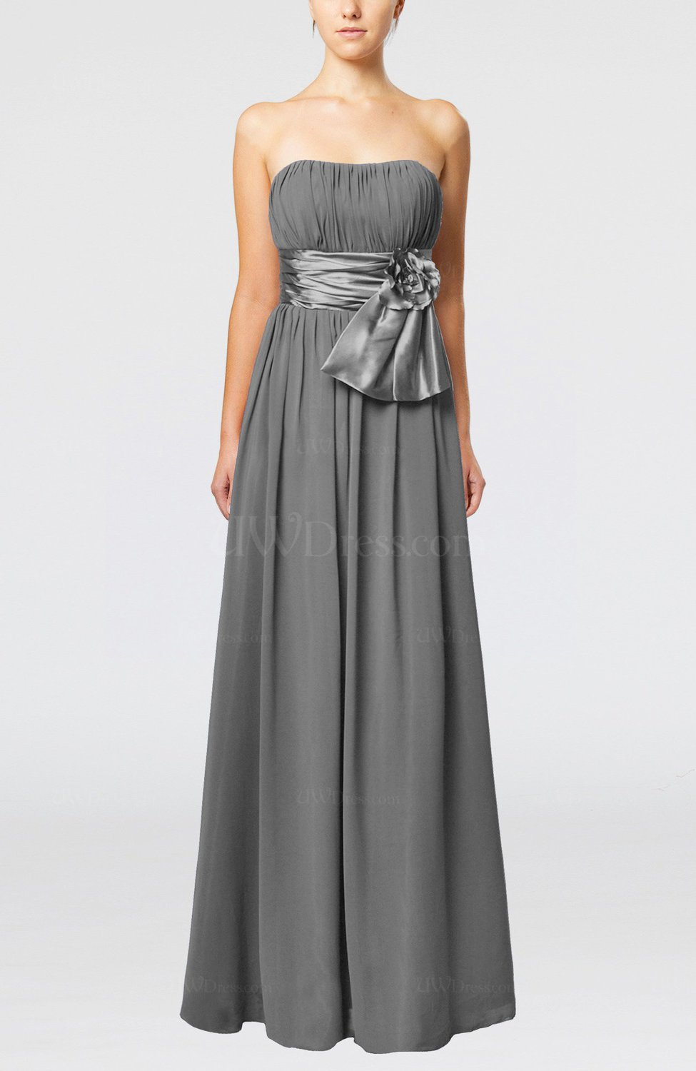 Grey Plain Column Zipper Chiffon Floor Length Wedding