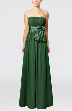 Hunter Green Plain Column Zipper Chiffon Floor Length Wedding Guest Dresses