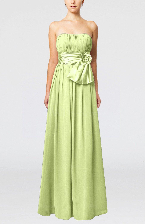 Lime Green Plain Column Zipper Chiffon Floor Length Wedding Guest ...