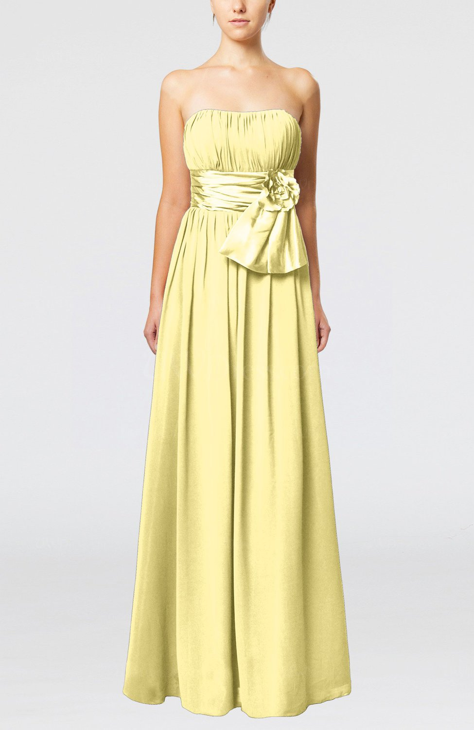 Pastel yellow plain column zipper chiffon floor length for Yellow dresses for wedding guests