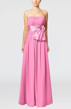 Pink Plain Column Zipper Chiffon Floor Length Wedding Guest Dresses