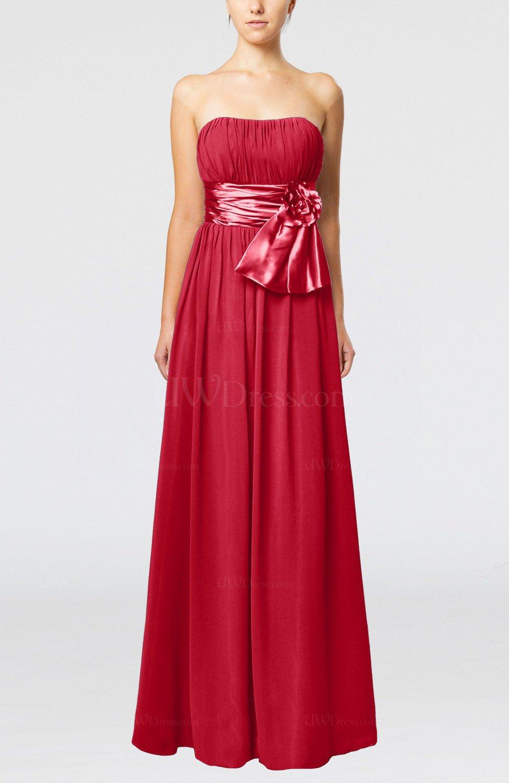 Red plain column zipper chiffon floor length wedding guest for Red wedding guest dresses