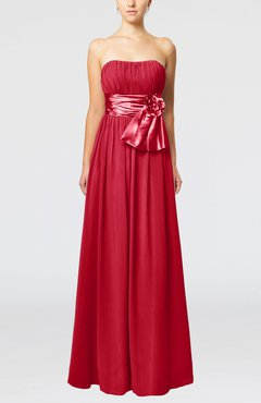 Red Plain Column Zipper Chiffon Floor Length Wedding Guest Dresses