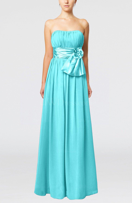 Turquoise plain column zipper chiffon floor length wedding for Turquoise wedding guest dress