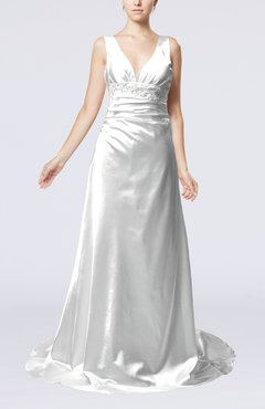 Silver Elegant Garden Sheath Sleeveless Elastic Woven Satin Court Train Beaded Bridal Gowns