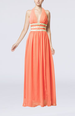 Coral Glamorous V-neck Chiffon Floor Length Pleated Party Dresses