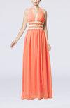 Glamorous V-neck Chiffon Floor Length Pleated Party Dresses
