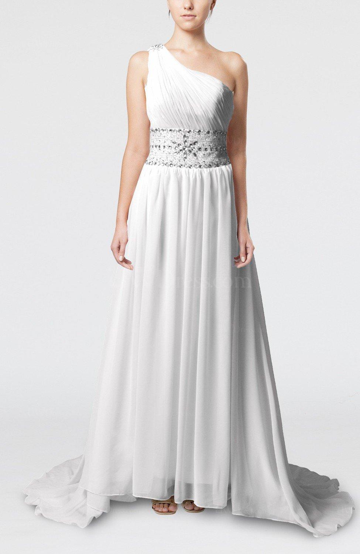 White modest outdoor sheath chiffon court train pleated for Sheath chiffon wedding dresses