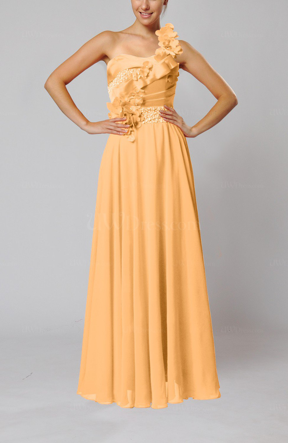Apricot gorgeous sheath one shoulder sleeveless floor for Mid length dresses for wedding guests