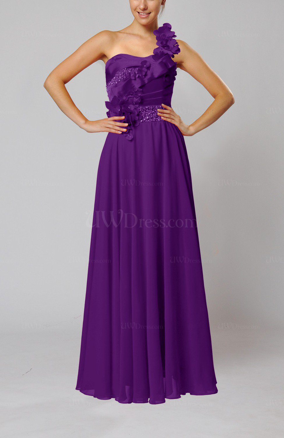 Dark purple gorgeous sheath one shoulder sleeveless floor for One shoulder dress for wedding guest