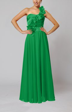 Green Gorgeous Sheath One Shoulder Sleeveless Floor Length Flower Wedding Guest Dresses