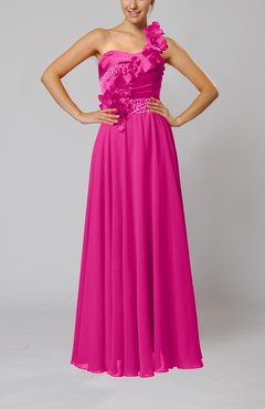 Hot Pink Gorgeous Sheath One Shoulder Sleeveless Floor Length Flower Wedding Guest Dresses