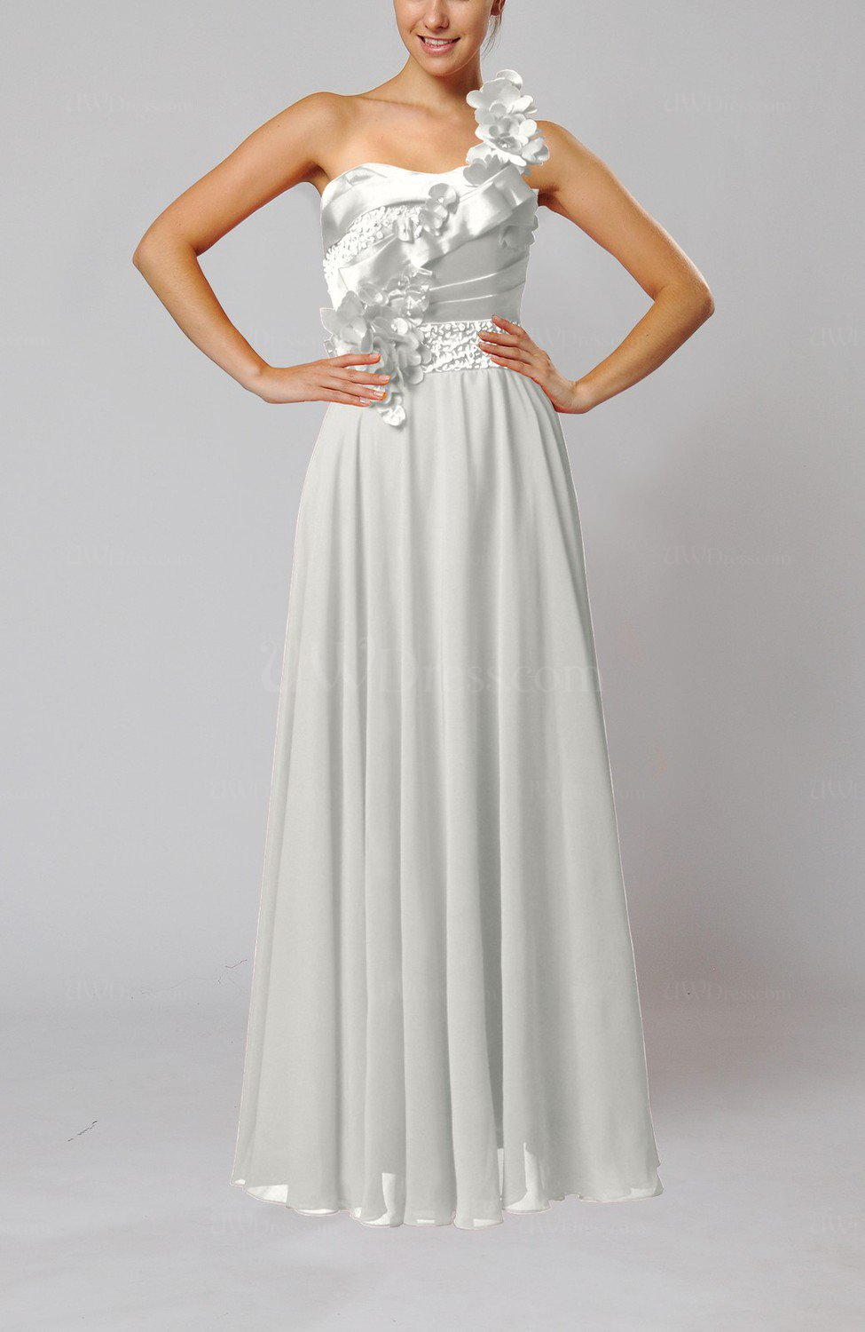 Off white gorgeous sheath one shoulder sleeveless floor for White dresses for wedding guests