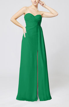 Green Elegant Empire Sweetheart Sleeveless Zip up Prom Dresses