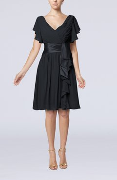 Black Romantic Short Sleeve Zip up Knee Length Sash Wedding Guest Dresses