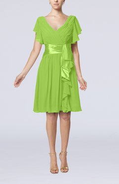 Bright Green Romantic Short Sleeve Zip up Knee Length Sash Wedding Guest Dresses