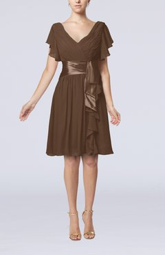 Brown Romantic Short Sleeve Zip up Knee Length Sash Wedding Guest Dresses