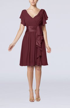 Burgundy Romantic Short Sleeve Zip up Knee Length Sash Wedding Guest Dresses