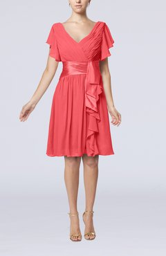 Coral Romantic Short Sleeve Zip up Knee Length Sash Wedding Guest Dresses
