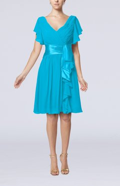 Cornflower Blue Romantic Short Sleeve Zip up Knee Length Sash Wedding Guest Dresses