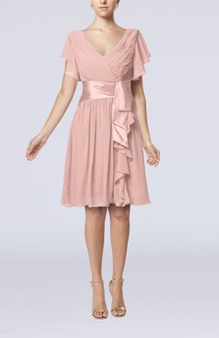 Dusty Rose Romantic Short Sleeve Zip up Knee Length Sash Wedding Guest Dresses