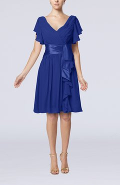 Electric Blue Romantic Short Sleeve Zip up Knee Length Sash Wedding Guest Dresses