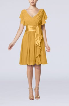 Gold Romantic Short Sleeve Zip up Knee Length Sash Wedding Guest Dresses
