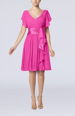 Hot Pink Romantic Short Sleeve Zip up Knee Length Sash Wedding Guest Dresses