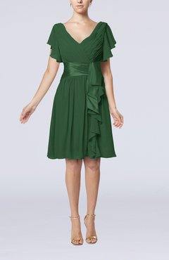 Hunter Green Romantic Short Sleeve Zip up Knee Length Sash Wedding Guest Dresses
