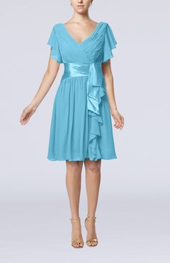 Light Blue Romantic Short Sleeve Zip up Knee Length Sash Wedding Guest Dresses
