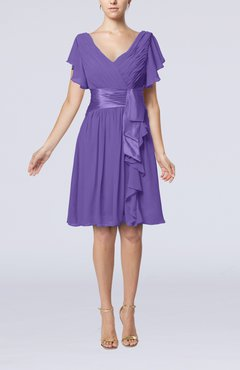 Lilac Romantic Short Sleeve Zip up Knee Length Sash Wedding Guest Dresses