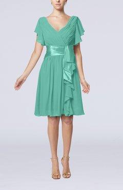 Mint Green Short Sleeve Zip Up Knee Length Sash Wedding Guest Dresses
